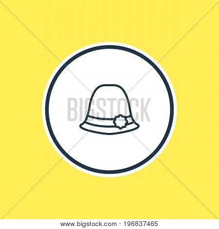Beautiful Garment Element Also Can Be Used As Panama Element.  Vector Illustration Of Elegant Headgear Outline.