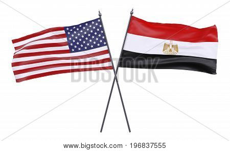 USA and Egypt, two crossed flags isolated on white background. 3d image