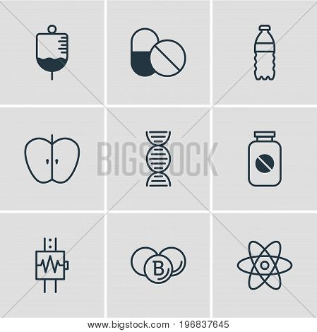 Editable Pack Of Molecule, Heartbeat, Antibiotic And Other Elements.  Vector Illustration Of 9 Medicine Icons.