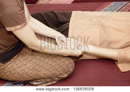 Thai Massage. Women Pay Attention To Relaxation And Health.