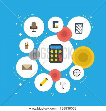 Flat Icons Armchair, Highlighter, Board Stand Vector Elements