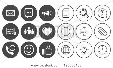 Mail, news icons. Conference, like and group signs. E-mail, chat message and phone call symbols. Document, Globe and Clock line signs. Lamp, Magnifier and Paper clip icons. Vector
