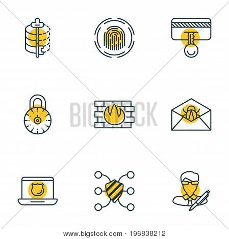 Editable Pack Of Safeguard, Safe Lock, Safety Key And Other Elements.  Vector Illustration Of 9 Privacy Icons.