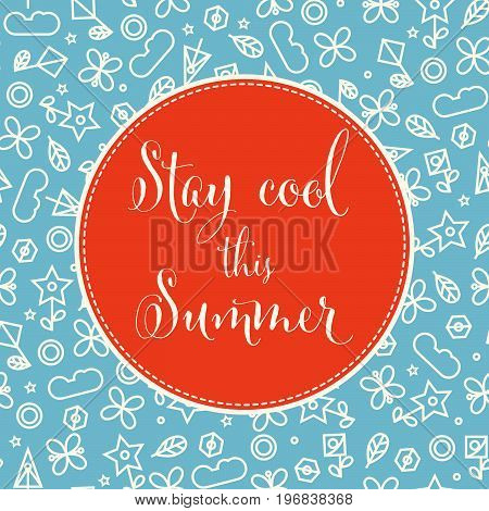 summer background with doodle floral elements. Vector format.
