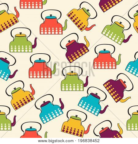 funny seamless pattern with kettles vector format