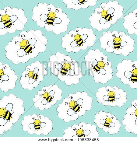 doodle seamless pattern with bees vector format