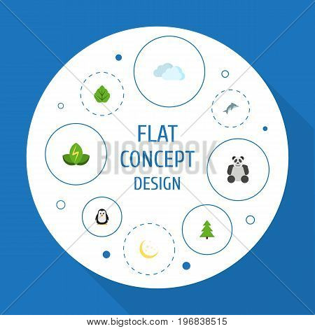 Flat Icons Night, Eco Energy, Playful Fish And Other Vector Elements