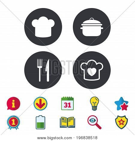 Chief hat and cooking pan icons. Fork and knife signs. Boil or stew food symbols. Calendar, Information and Download signs. Stars, Award and Book icons. Light bulb, Shield and Search. Vector