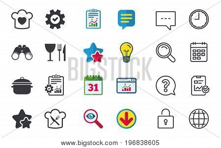 Chief hat with heart and cooking pan icons. Crosswise fork and knife signs. Boil or stew food symbol. Chat, Report and Calendar signs. Stars, Statistics and Download icons. Question, Clock and Globe