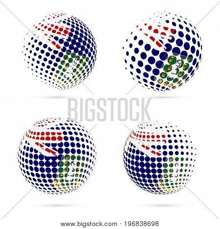Virgin Islands (uk) Halftone Flag Set Patriotic Vector Design. 3D Halftone Sphere In Virgin Islands