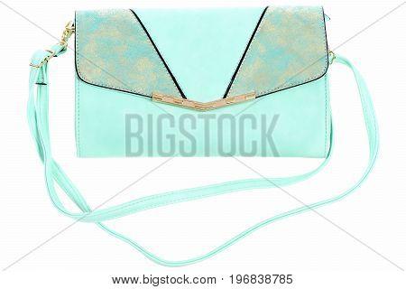 Fashion Concept: Blue Handbag With Shoulder Strap