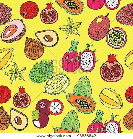 Seamless hand drawn pattern with tropical exotic fruits. Vector graphic art background for design, textile, fabric, cards and illustrations.