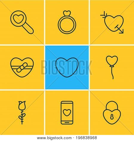 Editable Pack Of Magnifier, Engagement, Lock And Other Elements.  Vector Illustration Of 9 Amour Icons.