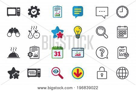 Microwave grill oven icons. Cooking apple and pear signs. Food platter serving symbol. Chat, Report and Calendar signs. Stars, Statistics and Download icons. Question, Clock and Globe. Vector