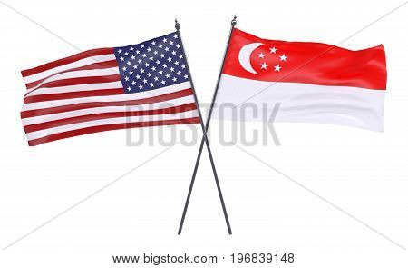 USA and Singapore, two crossed flags isolated on white background. 3d image