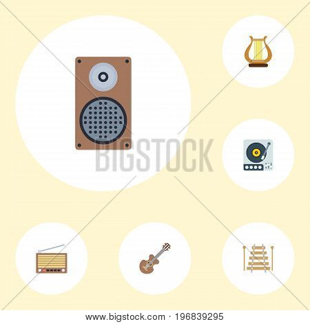 Flat Icons Radio, Audio Box, Lyre And Other Vector Elements