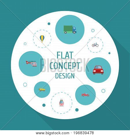 Flat Icons Automobile, Streetcar, Chopper And Other Vector Elements