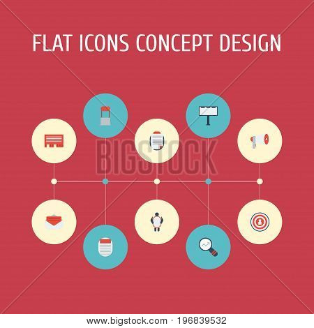 Flat Icons Letter, Message, Audience And Other Vector Elements