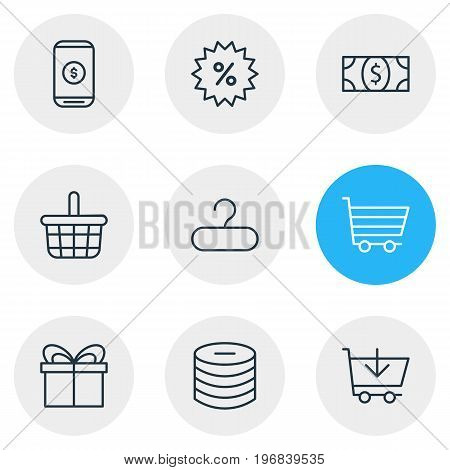 Editable Pack Of Coins, Buy, Pottle And Other Elements.  Vector Illustration Of 9 Wholesale Icons.