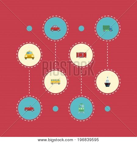 Flat Icons Metro, Cab, Automotive And Other Vector Elements