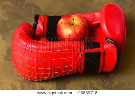 Professional Box Fight And Dieting Concept. Pair Of Leather Sportswear