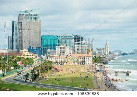 COLOMBO, SRI LANKA - MAY 17, 2011: View to the seaside in downtown Colombo, Sri Lanka.