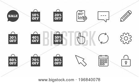 Sale discounts icons. Special offer signs. Shopping bag, price tag symbols. Chat, Report and Calendar line signs. Service, Pencil and Locker icons. Click, Rotation and Cursor. Vector