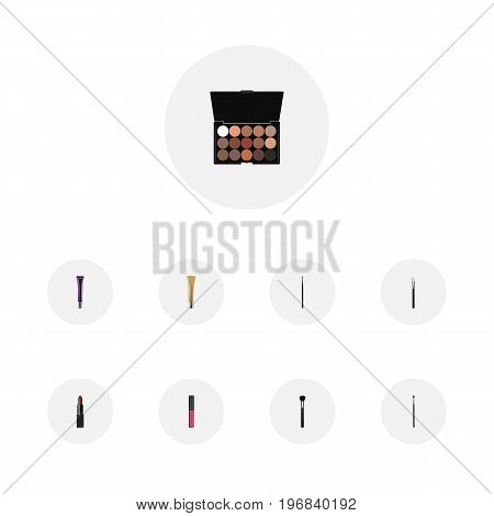 Realistic Pomade, Make-Up Product, Liquid Lipstick And Other Vector Elements
