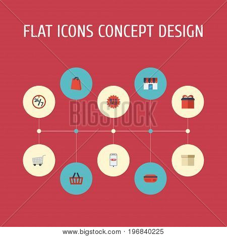 Flat Icons Trolley, Bag, Present And Other Vector Elements