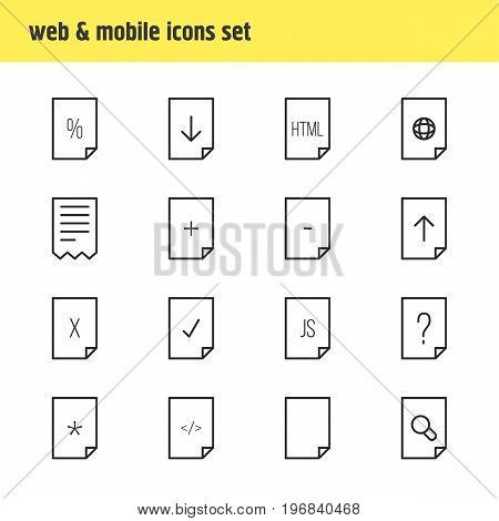 Editable Pack Of Remove, Folder, HTML And Other Elements.  Vector Illustration Of 16 File Icons.