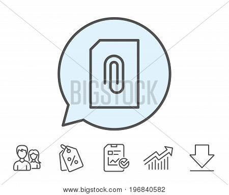 Attach Document line icon. Information File sign. Paper page concept symbol. Upload data. Report, Sale Coupons and Chart line signs. Download, Group icons. Editable stroke. Vector
