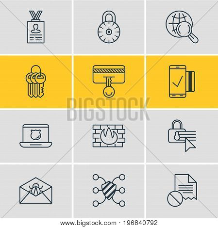 Editable Pack Of Account Data, Easy Payment, Data Security And Other Elements.  Vector Illustration Of 12 Protection Icons.