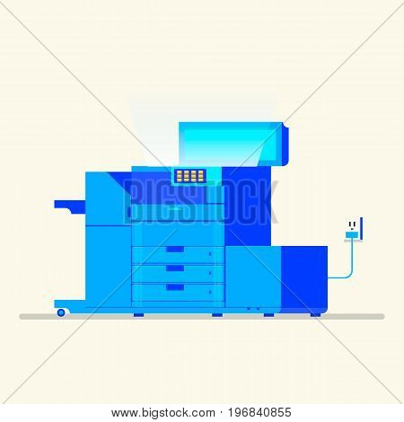 Multipurpose device, fax, copier and scanner. Flat vector illustration