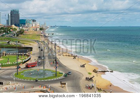 COLOMBO, SRI LANKA - MAY 17, 2011: View to the seaside in downtown Colombo, Sri Lanka.