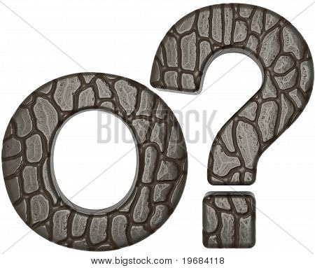Alligator Skin Font Query Mark And O Letter
