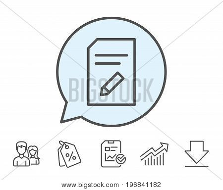 Edit Document line icon. Information File sign. Paper page with pencil concept symbol. Report, Sale Coupons and Chart line signs. Download, Group icons. Editable stroke. Vector