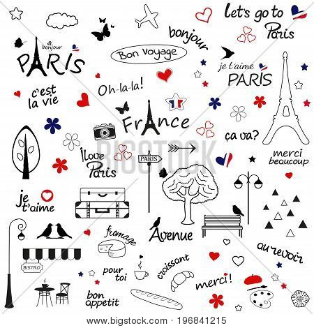 Paris sketch illustration. Set of hand drawn design elements on white background.
