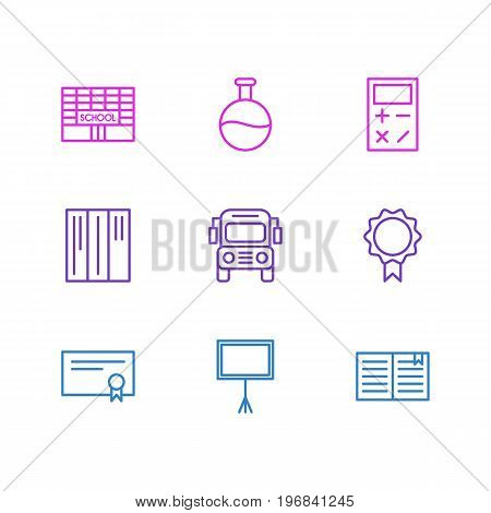 Editable Pack Of School, Diploma, Calculate And Other Elements.  Vector Illustration Of 9 Education Icons.