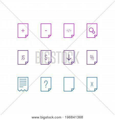 Editable Pack Of Percent, Question, Search And Other Elements.  Vector Illustration Of 12 Page Icons.