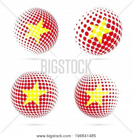 Vietnam Halftone Flag Set Patriotic Vector Design. 3D Halftone Sphere In Vietnam National Flag Color