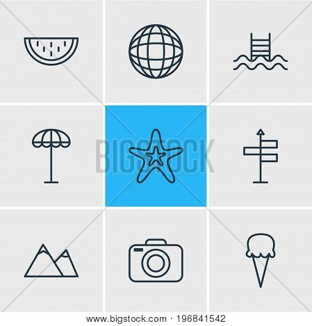 Editable Pack Of Umbrella, Swimming, Sorbet And Other Elements.  Vector Illustration Of 9 Season Icons.