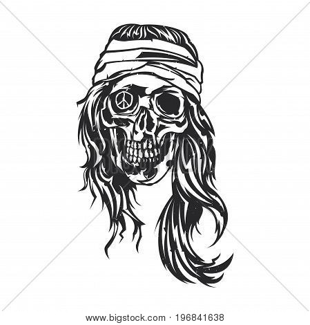 Isolated vector illustration of a dead hippie