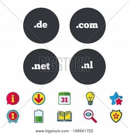 Top-level internet domain icons. De, Com, Net and Nl symbols. Unique national DNS names. Calendar, Information and Download signs. Stars, Award and Book icons. Light bulb, Shield and Search. Vector