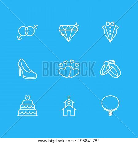 Editable Pack Of Patisserie, Bridegroom Dress, Love And Other Elements.  Vector Illustration Of 9 Wedding Icons.