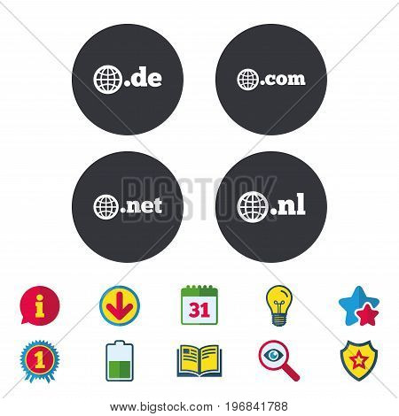 Top-level internet domain icons. De, Com, Net and Nl symbols with globe. Unique national DNS names. Calendar, Information and Download signs. Stars, Award and Book icons. Light bulb, Shield and Search