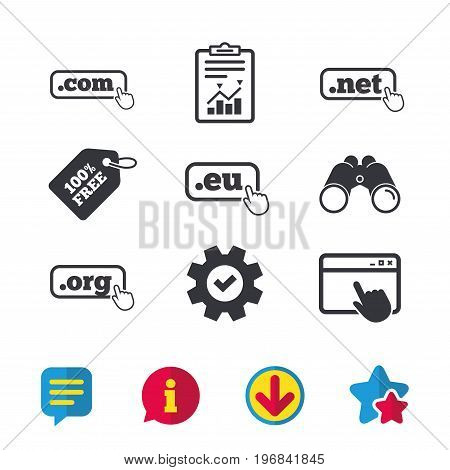 Top-level internet domain icons. Com, Eu, Net and Org symbols with hand pointer. Unique DNS names. Browser window, Report and Service signs. Binoculars, Information and Download icons. Stars and Chat