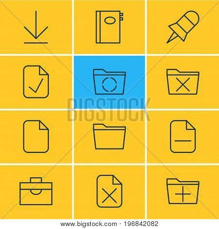 Editable Pack Of Document, Delete, Remove And Other Elements.  Vector Illustration Of 12 Office Icons.