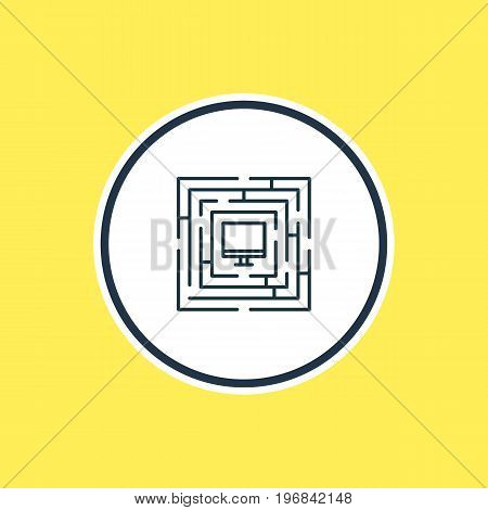 Beautiful Privacy Element Also Can Be Used As System Security Element.  Vector Illustration Of Protected Computer Outline.