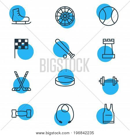 Editable Pack Of Baseball, Finish, Skipping Rope And Other Elements.  Vector Illustration Of 12 Athletic Icons.