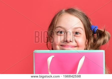 Girl With Pink Shopping Bag. Kid With Satisfied Face Expression